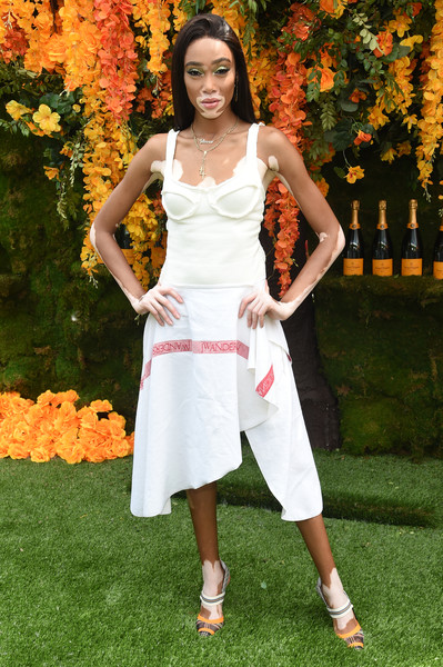 Winnie Harlow Midi Dress [clothing,white,lady,dress,beauty,fashion,spring,fashion model,summer,photo shoot,arrivals,winnie harlow,jersey city,new jersey,liberty state park,veuve clicquot polo classic]
