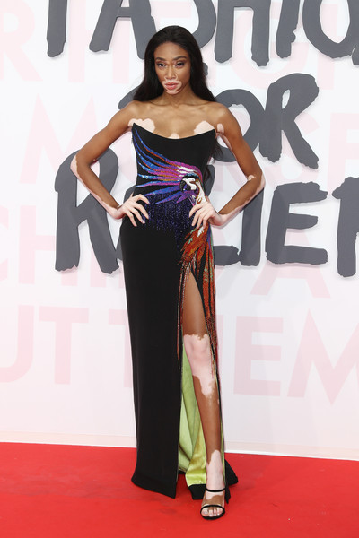 Winnie Harlow Strapless Dress [flooring,carpet,shoulder,fashion model,joint,red carpet,gown,thigh,winnie harlow,cannes,france,aeroport cannes mandelieu,red carpet arrivals - fashion for relief cannes,fashion for relief cannes,cannes film festival]