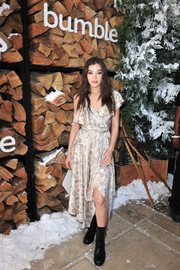 Hailee Steinfeld looked perfectly sweet in a floaty wrap dress by Zimmermann while attending Winter Bumbleland.
