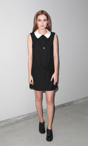 Zoey Deutch channeled Wednesday Addams with this white-collared LBD at the Wolk Morais debut fashion show.