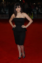 Roxanne Pallett looked so chic and trendy in a strapless peplum LBD.
