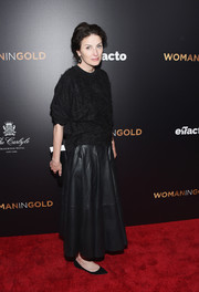 Marina Rust Connor cozied up in a fuzzy black crewneck sweater for the 'Woman in Gold' premiere.
