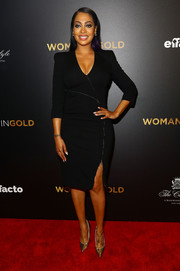 La La Anthony attended the 'Woman in Gold' premiere wearing a bod-con, zipper-embellished LBD by Altuzarra.