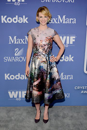 January Jones sported the picture-print trend with this colorful frock.