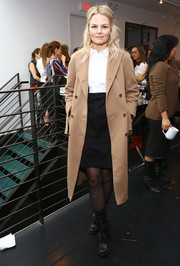 Jennifer Morrison arrived for the Women's Filmmaker Brunch wearing a beige wool coat over a button-down and a pencil skirt.