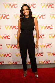 Rosario Dawson was sporty-chic in a sleeveless black jumpsuit at the Women's Media Awards.
