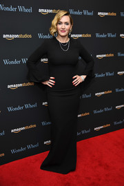 Kate Winslet looked simply sophisticated in a long-sleeve black column dress by Tom Ford at the New York screening of 'Wonder Wheel.'