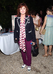 Susan Sarandon opted for a fun and floral blouse with neck bow for her look at 'The Worlds' screening.