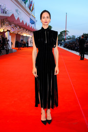 Katherine Waterston looked simply stylish in a fringed black dress by Prada at the Venice Film Festival screening of 'The World to Come.'