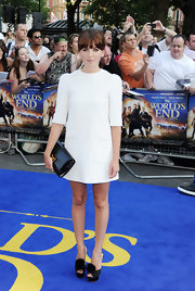 Ophelia Lovibond got mod chic with this crisp white mini dress.