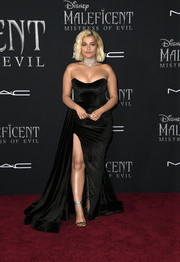Bebe Rexha looked va-va-voom in a low-cut strapless gown by Dona Matoshi at the world premiere of 'Maleficent: Mistress of Evil.'