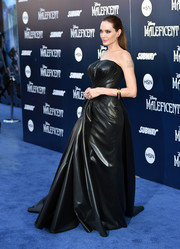 Angelina Jolie rocked a rubberized black strapless gown by Atelier Versace during the premiere of 'Maleficent.'