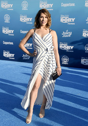 Allison Holker flashed some leg in a striped wrap dress by Adelyn Rae during the world premiere of 'Finding Dory.'