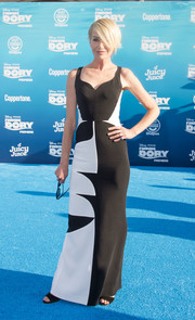 Portia de Rossi was chic and modern at the world premiere of 'Finding Dory' in a black-and-white Antonio Berardi column dress featuring a bold geometric print.