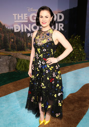Anna Paquin went ultra girly in a flower-embroidered high-low dress by Monique Lhuillier at the world premiere of 'The Good Dinosaur.'