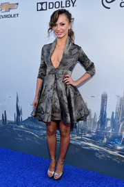 Karina Smirnoff wowed in a plunging gray snakeskin-print mini at the world premiere of 'Tomorrowland.'