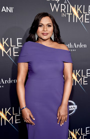 Mindy Kaling complemented her gown with a purple bangle for the world premiere of 'A Wrinkle in Time.'