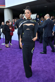 Tessa Thompson showed off her unique style with this embroidered cutout gown by Ronald van der Kemp Couture at the world premiere of 'Avengers: Endgame.'