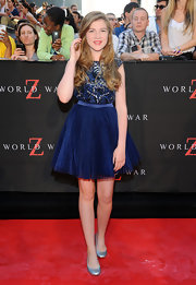 Abigail wore this midnight blue beaded bodice dress with a blue tulle skirt.