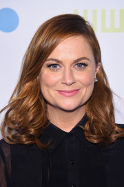 Amy Poehler looked sophisticated with side-parted bangs and a medium wavy hairdo.