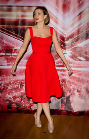 Dannii Minogue was a vision in a perfectly tailored red dress, which she paired with nude Brian Atwood platform pumps.