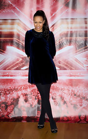 Rebecca donned a soft velvet cocktail dress with a beaded neckline for the 'X Factor' Press Conference.