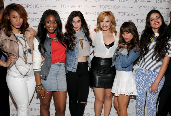More Pics of Demi Lovato Loose Blouse (1 of 32) - Tops Lookbook - StyleBistro [x factor,social group,fashion,beauty,event,youth,fashion design,model,party,fashion accessory,style,demi lovato,lauren jauregui,jane hansen,dinah,5th harmony,photo call,l-r,topshop,photo call]