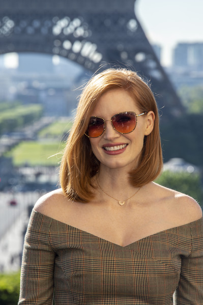 More Pics of Jessica Chastain Print Pants (1 of 20) - Pants & Shorts Lookbook - StyleBistro [eyewear,hair,sunglasses,face,glasses,beauty,lip,cool,lady,hairstyle,photocall at cafe de lhomme,x-men dark phoenix,paris,france,jessica chastain]