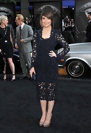 Rose Byrne was a lacy beauty in a navy Marc Jacobs Fall 2011 cocktail dress at the 'X-Men: First Class' premiere.