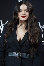 Rosalia cinched in her jacket with a stylish black leather belt when she attended the YSL Beaute, THE SLIM Rouge PurCouture party.