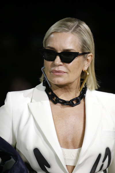 Yolanda Hadid Side Parted Straight Cut [eyewear,hair,sunglasses,fashion,glasses,hairstyle,blond,vision care,cool,fashion accessory,yolanda hadid,part,runway,paris,france,paris fashion week womenswear fall,off-white,show,sunglasses,fashion,runway,model,human]