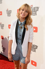 Grace Helbig looked adorable in her denim romper, spruced up with a black-and-white blazer, at 'The Big Live Comedy Show.'