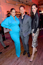 Ashley Graham showed off her chic maternity style with this sky-blue maxi shirtdress by Kreist at the YouTube.com/Fashion launch.