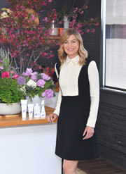 Ellen Pompeo looked preppy in a collared black-and-white mini dress while promoting baby care line, Seedlings.