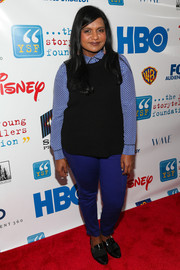 For her shoes, Mindy Kaling chose a pair of black patent loafers.