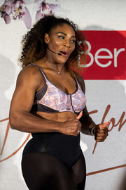 Serena Williams led a dance class wearing a printed bra by Berlei during the unveiling of the brand's new campaign.