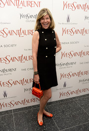 Jamee Gregory looked mod in a double-breasted tweed LBD during the premiere of 'Yves Saint Laurent.'