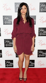 Reshma Shetty went for a simple-yet-sophisticated look with a maroon shirtdress at the Z Spoke by Zac Posen launch party.