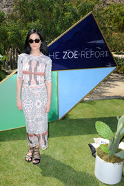 Leigh Lezark kept it laid-back yet chic in this Rachel Zoe printed top during the ZOEasis event.
