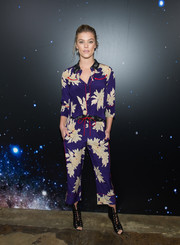 Nina Agdal was casual and sweet in a purple floral blouse by Zadig & Voltaire during the brand's Fall 2018 show.