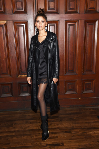 Zendaya Coleman Ankle Boots [clothing,leather,leather jacket,fashion,fashion model,jacket,outerwear,footwear,textile,dress,new york city,park avenue armory,marc jacobs spring 2020 runway show,arrivals,zendaya]