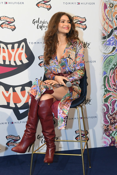 Zendaya Coleman Wrap Dress [clothing,fashion,carpet,red carpet,footwear,thigh,leg,fashion design,flooring,knee-high boot,tommy hilfiger tommynow,tommy hilfiger,zendaya,tommyxzendaya,paris,galeries lafayette,france,the galeries lafayette,tommynow]