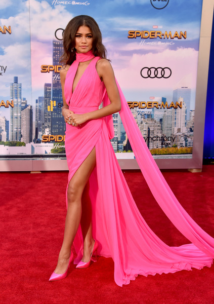 Zendaya Coleman Evening Pumps [spider-man: homecoming - arrivals,spider-man: homecoming,flooring,carpet,beauty,shoulder,fashion model,red carpet,gown,leg,joint,dress,zendaya,california,hollywood,tcl chinese theatre,columbia pictures,premiere,premiere,zendaya,spider-man: homecoming,spider-man,red carpet,actor,singer,premiere,celebrity,dress]