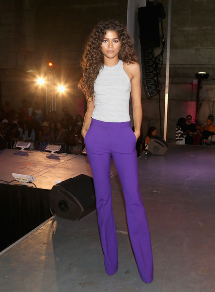 Zendaya Coleman Tank Top [clothing,fashion model,fashion,purple,fashion show,violet,waist,shoulder,runway,trousers,zendaya,stage,brooklyn borough,new york city,dumbo,essence street style block party - show]