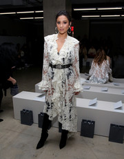 Shay Mitchell got majorly flirty in a sheer white lace dress by Zimmermann for the label's fashion show.