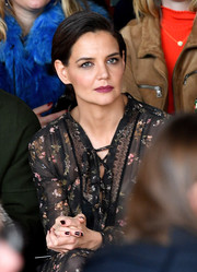 Katie Holmes chose a brown mani to match her dark outfit at the Zimmermann fashion show.