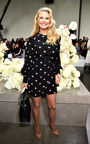 Christie Brinkley was classic in a polka-dot cocktail dress at the Zimmermann Spring 2019 show.
