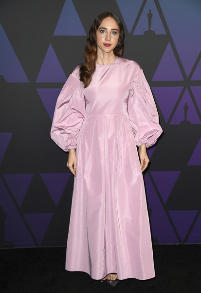 Zoe Kazan Evening Dress [clothing,pink,dress,fashion,purple,fashion model,robe,satin,gown,nightwear,zoe kazan,hollywood highland center,california,the ray dolby ballroom,academy of motion picture arts and sciences,10th annual governors awards,governors awards]