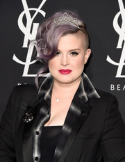 Kelly Osbourne styled her purple tresses into a loose, half-shaved updo for the Zoe Kravitz/YSL Beauty event.