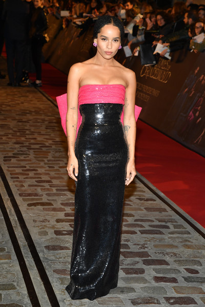 Zoe Kravitz Strapless Dress [fantastic beasts: the crimes of grindelwald,fantastic beasts and where to find them,fashion model,catwalk,flooring,fashion,beauty,fashion show,shoulder,runway,gown,carpet,world premiere,zoe kravitz,actor,red carpet,paris,ugc cine cite bercy,ucg bercy,ugc,zo\u00eb kravitz,fantastic beasts and where to find them,ugc cin\u00e9 cit\u00e9 bercy,celebrity,fantastic beasts: the crimes of grindelwald premiere,red carpet,fantastic beasts and where to find them,actor]